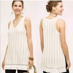 Anthropologie Knitted & Knitted Fringe Tunic Top